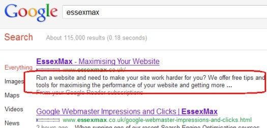 Description Tag in Google Results