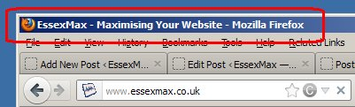 Title Tag in a web browser Title Bar
